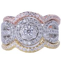 conjuntos de anillos de boda clásicos al por mayor-Nuevo Lujo Sterling 925 Silver 3 Rounds Juego de anillos 3A CZ Mujeres Anillos de bodas de cristal Anillos de compromiso clásicos Joyería Wholsale Regalos