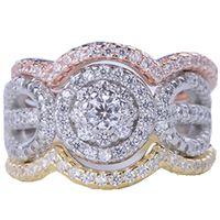 gümüş alyans yüzük setleri toptan satış-Yeni Lüks Sterling 925 Gümüş 3 Yuvarlar Yüzük Seti 3A CZ Kadınlar Kristal Alyans Klasik Alyans Takı Wholsale Hediyeler