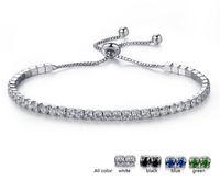 ingrosso gemma verde nera-Pave CZ Zirconia Tennis Bracciale per donna Clear Blue Green White Black Gemstone Crystal Bracelet Jewelry