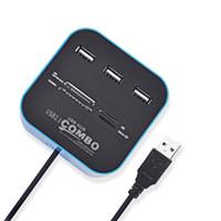 leitor de porta usb mini venda por atacado-Alta Velocidade USB2.0 Hub 3 Portas Com Leitor De Cartão Mini Hub USB Todos Em Um USB Splitter Adapter Para PC Computador Portátil