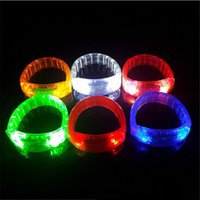 Wholesale button party supplies - Hot sale 7 colors Plastic LED Bracelet buttons switch glow Bracelet Flash bracelet festival party supplies T3I0293