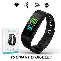 wasserdichte fitness-uhren großhandel-Y5 Smart Armband Armband Fitness Tracker Blutdruckmessgerät Sport Wasserdichte Smart Uhr Für IPhone Samsung Mit Kleinpaket