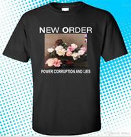 ingrosso ordine vendita abbigliamento-Maglietta casual Maschile Modello Nuovo ORDER Power Corruption And Lies Uomo T-shirt nera Taglia S a 3XL Vendita calda Abbigliamento casual