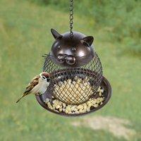 kuşlar el yapımı toptan satış-Tooarts Kedi Şekilli Kuş Besleyici Kedi Şekilli Vintage El Yapımı Açık Dekor Villa Bahçe Dekorasyon Asılı Kuş Açık Besleyici