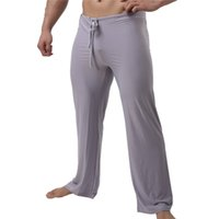calças de homem sexy venda por atacado-Sexy Men Long Johns Calças Compridas Cueca de Comprimento Total Solto Casual Sleepwear Calças Nightwear Calças Sexy Johns