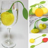 colheres de chávenas venda por atacado-Strainers de chá de Silicone Teabag Tea Leaf Coador Infuser Para Limão Morango Filtro Teacup Bule Cestas De Filtro De Café WX9-480