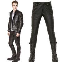 Wholesale 32 Leather Pants - Men's Cool Leather Biker Pants Skinny Fit Hip-Hop Nightclub Wear Dancer Fashion Black Trousers Male Plus Size 38