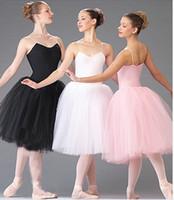 erwachsene schwan kostüm großhandel-Erwachsene romantische neue Ballett-Ballettröckchen-Tanz-Wiederholungs-Praxis-Röcke-Schwan-Kostüme für Frauen-lange Tüll-Kleider-Weiß-Rosa-Schwarz-Farbe
