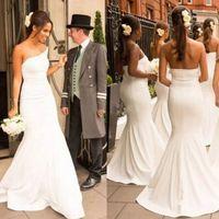 Wholesale elegant plain wedding dress resale online - Elegant maid of honor dresses Mermaid Strapless Sleeveless White Ivory Bridesmaids Dresses Plain Design Sweep Train Wedding Party