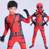 deadpool costume оптовых-Горячие дети Deadpool Cosplay Halloween Cosplay Полное тело Deadpool Костюм для взрослых Digital Print Lycra Costume