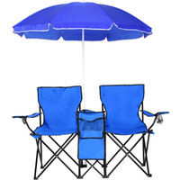 Wholesale picnic portable table - Portable Folding Picnic Double Chair With Umbrella Table Cooler Beach Camping Chair