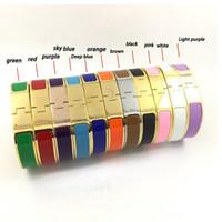 Wholesale cloisonne bangles for sale - Group buy Highest level Designer Enamel titanium steel letter bracelets bangles lovers engagement men and women luxury jewelry
