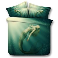 Wholesale 3d bedding set green king resale online - 3D beautiful Green Mermaid Duvet Cover Bedding Set Bedspreads Holiday Quilt Covers Bed Linen Pillow Covers bedding sets twin California King
