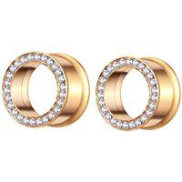 Gold Flesh Tunnel Surgical Steel Body Jewelry Ear Expander Gauge Stretcher Earring Piercing Plug for Women Men 70pcs