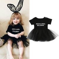 Wholesale Girls Black Ballet Tutu - Letter Print Tutu Dress 0-3T Baby Girls Infant Babies Girl Tulle Rock N Roll Dresses Cute Ballet Clothing Joli Fille