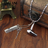 Wholesale Scissor Comb Jewelry - whole saleCreative Jewelry Neck lace Tools Hair Dryer Scissor Comb Pendants Necklace Barber Shop Hair Dresser Present Necklace Collier
