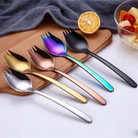 acero inoxidable color oro al por mayor-Top Choice Colored Stainless Steel 304 Spork Noodle Forks, brillante plata oro cobre negro Rainbow Spork