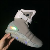 Wholesale Back Future Sneakers - Air Mag Sneakers Marty McFly's LED Shoes Back To The Future Glow In The Dark Gray Black Mag Marty McFlys Sneakers With Box Top quality
