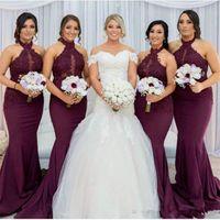 Wholesale elegant halter lace wedding dress online - Burgundy Mermaid Bridesmaid Dresses Elegant Arabic Halter Neck Lace Appliques Wedding Guest Party Dresses Vestido