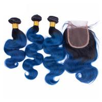 Wholesale Blue Human Weave - Doheroine Pre-Colored Human Hair Bundles With Closure Body Wave Bazilian Human Hair 3 Bundles With Closure 1B Blue Ombre Color Bundles