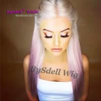 pelo rubio largo blanqueado al por mayor-peluca de pelo rubio blanco pastel peluca de teñido sintético purpura rosa teñido de color rosa pelo peluca de frente de color Pelucas de pelo de ombre tono recto largo recto