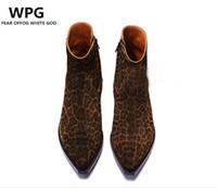 Wholesale euro style boots resale online - new euro vintage style Retro Style Leopard grain Leather shoes mens boots shoes