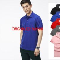 camisa blanca al por mayor-2018 Hot New cocodrilo Polo hombres camisa de manga corta camisas casuales hombre sólido camiseta clásica más Camisa Polo 801