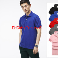 ingrosso maglietta nuova uomo-2018 Hot New crocodile Polo Shirt Uomo manica corta Camicie casual Maglietta classica tinta unita da uomo Plus Camisa Polo 801