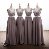 Wholesale neck ribbons - 2018 Elegant Gray Bridesmaid Dresses V Neck Appliques Lace Floor Length Backless Long Bridesmaid Gowns With Ribbon Bow Party Dresses