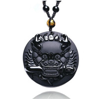 Wholesale Natural Hand Carved Stones - natural Obsidian stone Hand carved Chinese dragon head charm pendant necklace