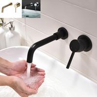 lavabo ağızlığı toptan satış-Mat Siyah Pirinç Duvara Monte Havzası Musluk Tek Kolu Banyo Mikser Dokunun Sıcak Soğuk Lavabo Bataryası Rotasyon Bacalı, Perdahlı Altın