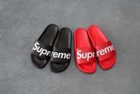 Wholesale men long shoes - 5 style 15SS Men Flats Sandals Non-slip Bathroom Slippers slipper without box ss sup black red summer house shoes men slippers