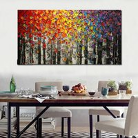 Wholesale colorful modern oil paintings resale online - Modern Abstract Art Fashion Wall Decor Oil Painting Colorful trees Landscape Oil Painting Home Decor On Canvas