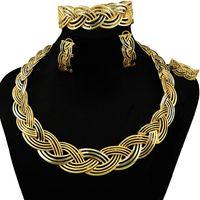 grandes conjuntos de jóias traje de ouro venda por atacado-Conjunto africano da jóia do traje conjunto de jóias de noiva de ouro africano conjuntos grandes melhor traje de qualidade