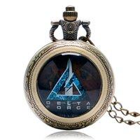 мужские фиолетовые часы оптовых-Men's Pocket Watch, White Case Quartz Fob Pocket Watch, Blue Purple Face with Wrist Chain Watch Gift for Men