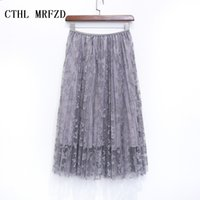 Wholesale Long Skirts Tall - 2016 women skirts bud silk skirts long pleated skirt of tall waist show thin posed the a - line skirt autumn winter