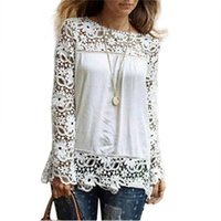 538adf0fffe6d Large Size 2018 Women Blouse Lace Long Sleeve Ladies Vintage Chiffon Blouses  Shirt Crochet Blusa Tops Blusas Femininas Camisa