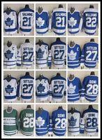 ingrosso pullover di foglie di acero sittler-CCM Newest Stitched Toronto Maple Leafs # 21 SALMING / # 22 WILLIAMS / # 27 SITTLER / # 28 DOMI Bianco Blu Verde CCM Hockey su ghiaccio Maglie