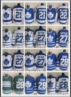 jersey de sittler al por mayor-CCM Nuevos hombres cosidos Toronto Maple Leafs # 21 SALMING / # 22 WILLIAMS / # 27 SITTLER / # 28 DOMI Blanco Azul Verde CCM Camisetas de hockey sobre hielo