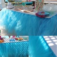 lumières de douche de bébé achat en gros de-Tulle Nappe Pour Mariage Banquet Coloré Jupe De Table Fête D'anniversaire Décoratif Lumière Bébé Douches De Mariée Décor Cadeau 18mr Y