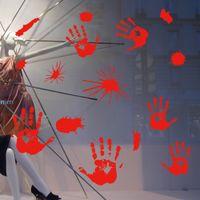stickers muraux enfants achat en gros de-Halloween Stickers muraux Avion Cartoon Fenêtre Verre Autocollants Blood fingerermarks Empreintes de sang Enfants Home Decor Decal