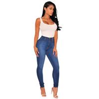 enge knöpfe jeans großhandel-Frühlingsherbstfrauen neue Art und Weise beiläufige Jeans blaue Baumwolldenim-Patchwork Tasche knöpft elastische feste Taille dünne volle lange Hosen