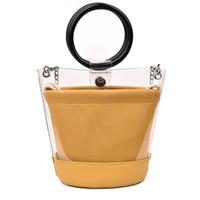 сумки для деревянных ручек оптовых- design Clear Transparent Bucket PVC Bag Barrel Shaped Small Mini Wood Handle Handbags Women Fresh Beach Bag