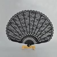 bajo precio vestidos de novia negro al por mayor-¡Precio bajo! Ventilador de mano vintage victoriano español para el favor del banquete de boda vestido de lujo negro japonés plegable bolsillo fan baile accesorios