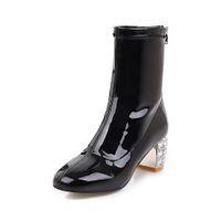 ingrosso scarpe da pioggia della caviglia-Stivaletti per donna Punta rotonda Stivaletti per donna 2018 Autunno Tacco spesso Tacchi alti Scarpe Stivali da pioggia Scarpe invernali da donna