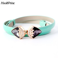Wholesale candies apparel - Female Straps Leather Belt Waistband Cummerbund For Apparel Accessories Candy Color rhinestone Buckle Thin Casual Belt For Women