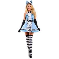 heißes blaues panty großhandel-Heißer Verkauf Alice Im Wunderland Kostüm Cosplay Alice Fantasie Karneval Halloween Kostüme Für Frauen Sexy Blue Panty Dress