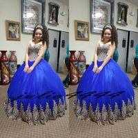 königsblaues süßes herzkleid großhandel-Royal Blue Prom Dresses Abendkleid 2018 Fashion Middle East Abendkleid Arabisch Party Kleid Ballkleid Spitze Sweet-Heart Boden Länge
