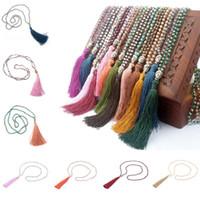 colar de borlas frisado venda por atacado-Jóias Boho Buddha Beads Colar Tassel Handmade Charme Longo Cadeia para Yoga Meditação 30 Estilos De Cristal Frisada Borla Longo Colar G349Q