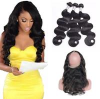örgüler için saç bandı toptan satış-9A Ön Koparıp Brezilyalı Vücut Dalga Saç Örgüleri Ile 360 Dantel Bant Frontal Virgin İnsan Saç Bady Saç Ile 4 adet / grup